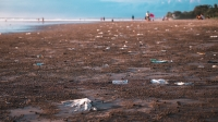 Plastic pollution stretches across the beaches of Bail after the rainy season.